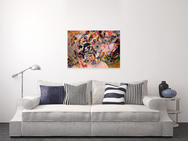 Photo of Composition VII painting in modern sofa lounge