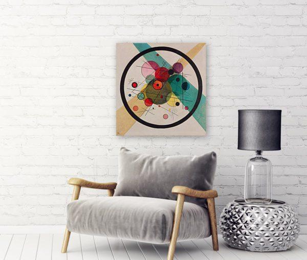 Photo of Circles of circle painting over a modern sofa