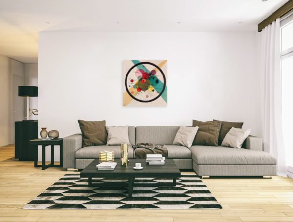Photo of Circles in a Circle Print in modern minimalistic living room.