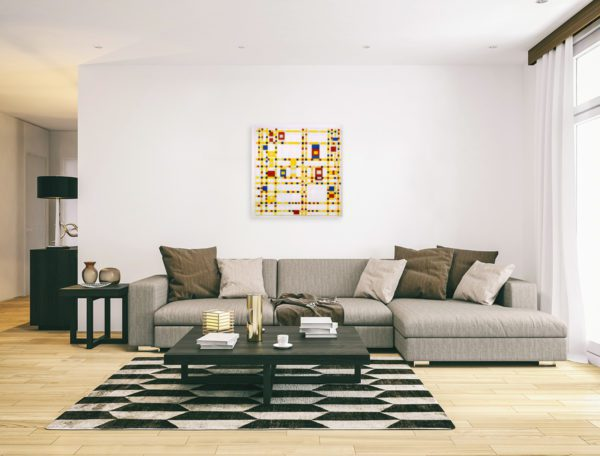 Photo of Boogie Woogie painting in Modern minimalistic living room.