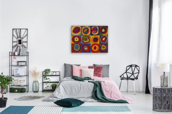 Photo of Color Study Squares with Concentric Circles Print in modern bedroom