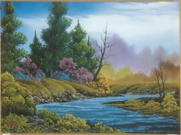 Photo of river near meadow fields painting