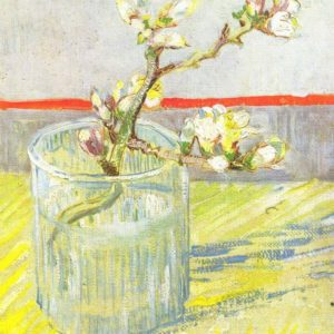 Photo of Almond branch in a glass painting
