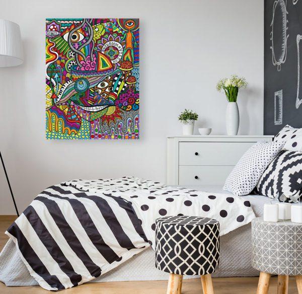 Photo of Smiling Mushrooms painting in modern bedroom