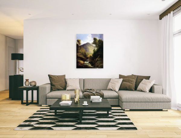Photo of Waterfall painting in modern minimalistic living room.