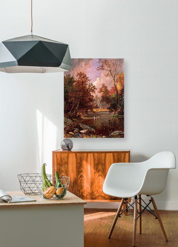 Photo of Autumn River Landscape Painting in simplistic living room
