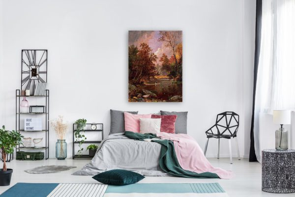 Photo of Autumn River Landscape Painting in modern bedroom