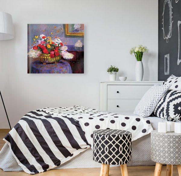 Photo of Bernhard Gutmann Still Life, Round Bowl With Flowers in modern bedroom