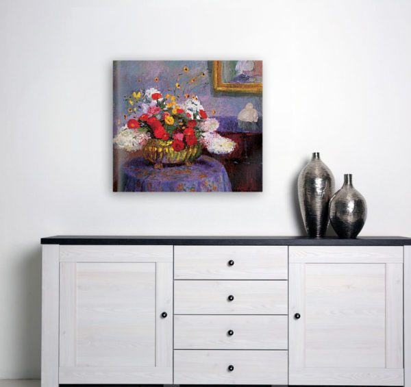 Photo of Bernhard Gutmann Still Life, Round Bowl With Flowers painting by simplistic table