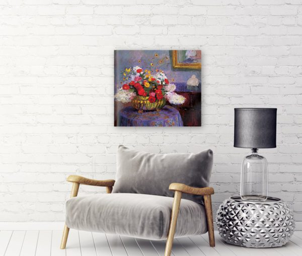 Photo of Bernhard Gutmann Still Life, Round Bowl With Flowers by Sofa