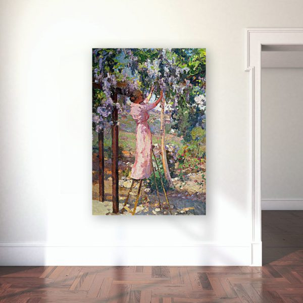 Photo of Lady in trees painting over a simplistic table 3