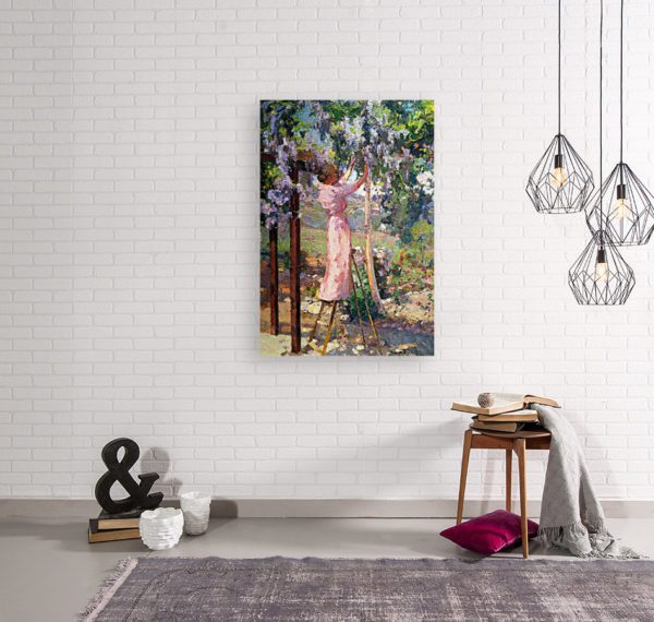 Photo of Lady in Trees painting in simple living room