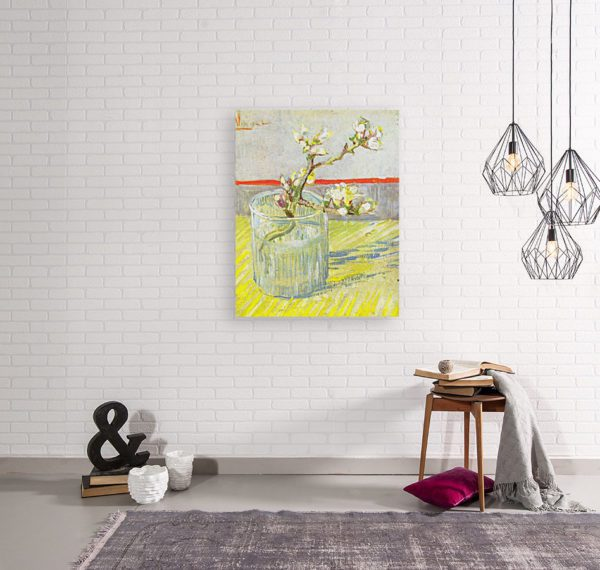 Photo of Blossoming Almond Branch in a Glass painting in simple living room