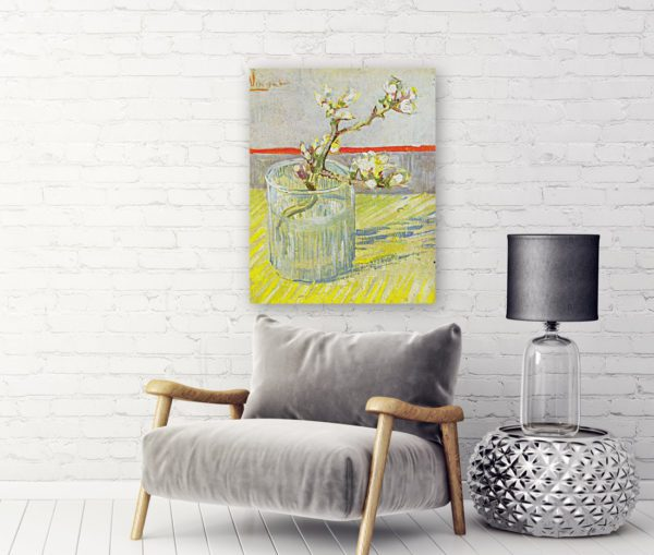 Photo of Blossoming Almond Branch in a Glass in living room