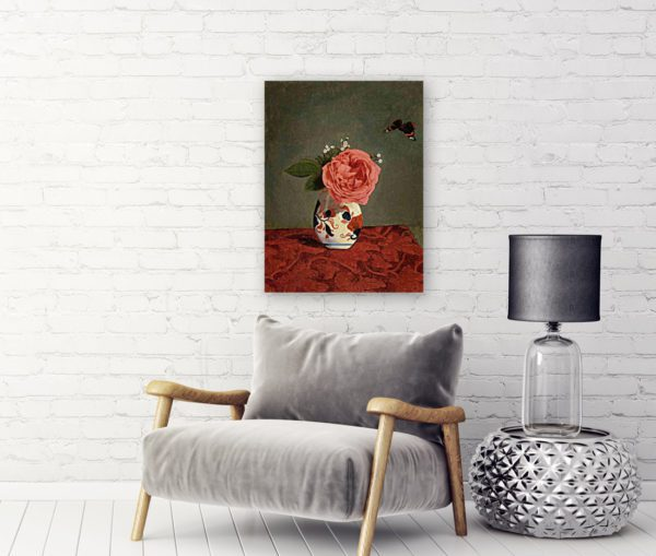 Photo of Garden Rose and Blue Forget Me Nots in a Vase Painting by Sofa