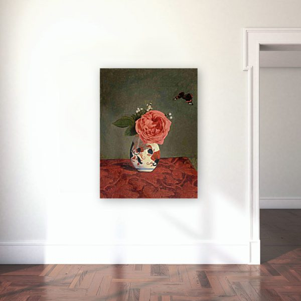 Photo of Garden Rose and Blue Forget Me Nots in a Vase Painting in gallery