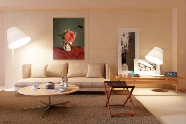 Photo of Garden Rose and Blue Forget Me Nots in a Vase Painting in elegant living room