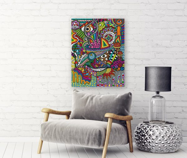 Photo of Smiling Mushrooms painting in living room