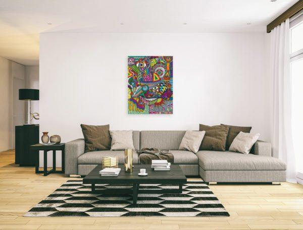 Photo of Smiling Mushrooms painting in elegant sofa lounge