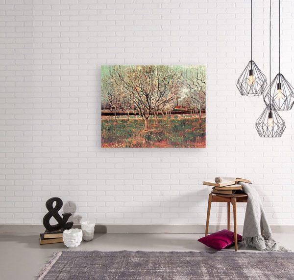 Photo of Japonaiserie Flowering Plum Tree painting in modern living room