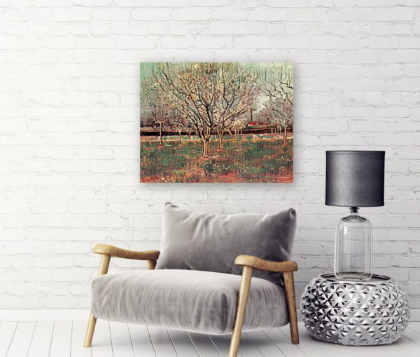 Photo of Japonaiserie Flowering Plum Tree painting near sofa
