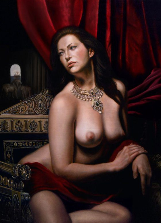 Photo of Nude woman painting