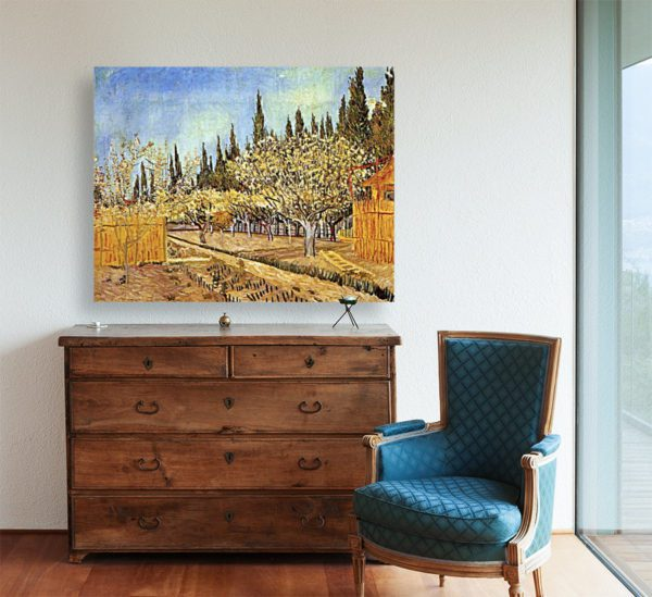Photo of Orchard in Blossom painting in living room