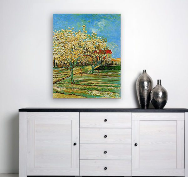 Photo of Orchard in Blossom painting over white table