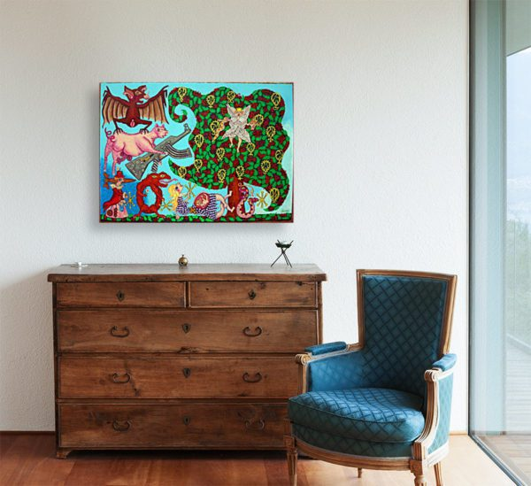 Photo of Spooky World painting in simple living room