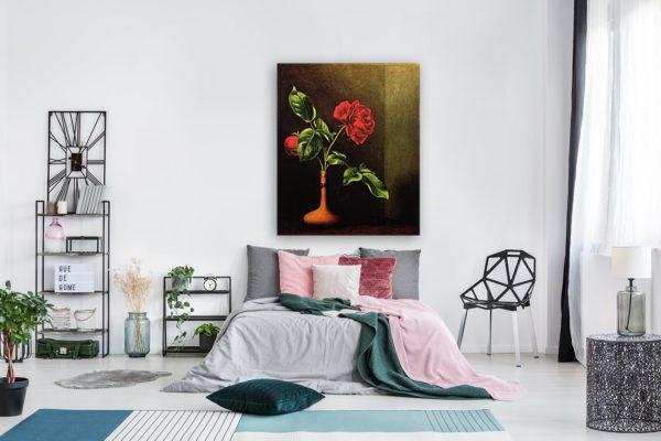 Rose still life painting red 3