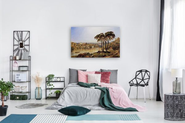 Photo of Summer, Noonday on the Arno painting in modern bedroom