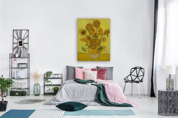 Photo of Sunflowers painting in modern bedroom
