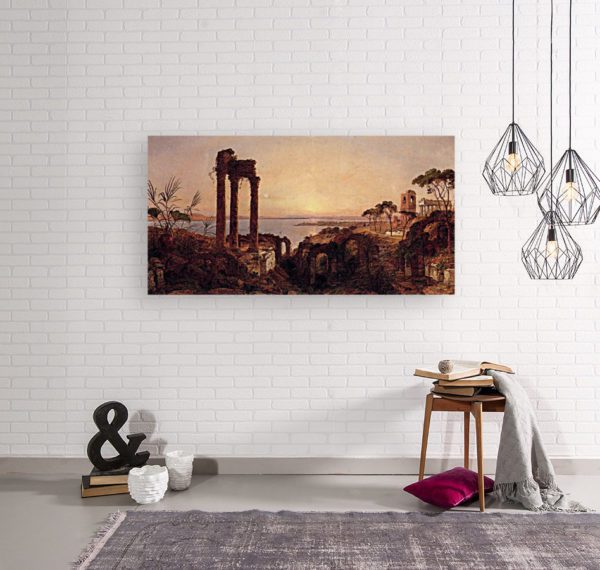 Photo of The Bay of Naples Painting in simple living room