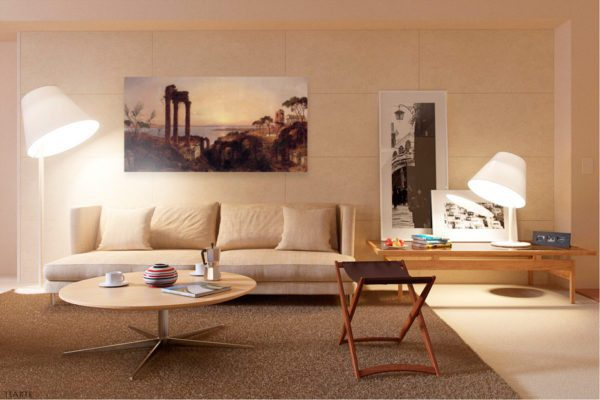 Photo of The Bay of Naples Painting in elegant living room