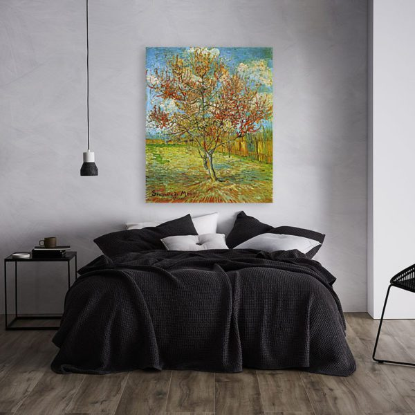 Photo of The Pink Peach Tree painting in modern bedroom