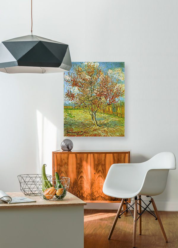 Photo of The Pink Peach Tree painting in living room