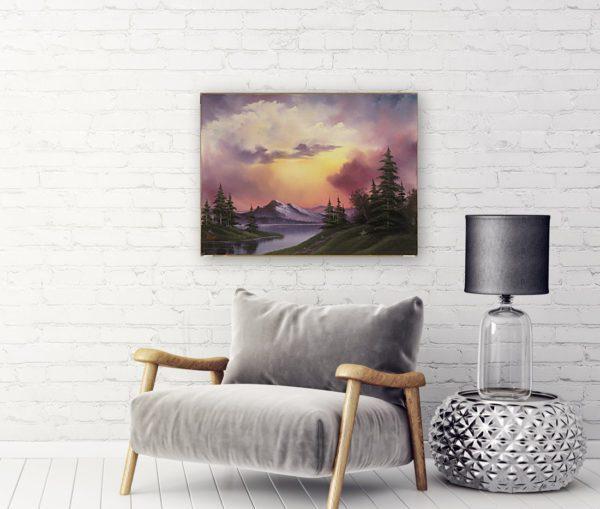 Photo of Sunset glow painting near sofa
