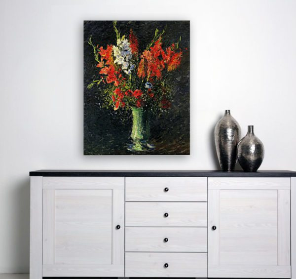 Photo of Vase of Gladiolas painting by a simple table