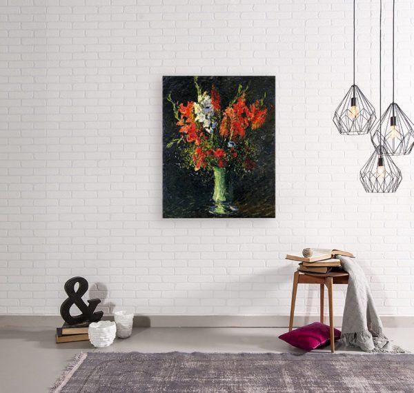 Photo of Vase of Gladiolas in simplistic living room