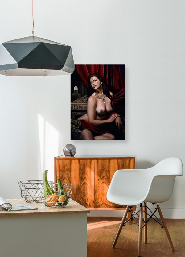 Photo of nude woman in modern living room