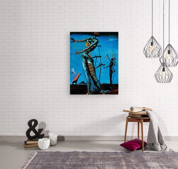 Photo of the-burning-giraffe painting in simple living room
