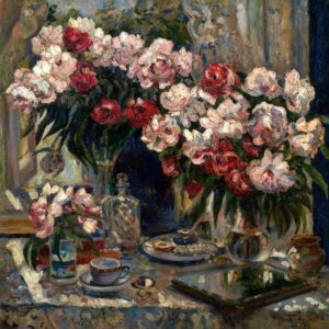 Still Life With Peonies By Alexander Gerassimov Wall Art Canvas Print