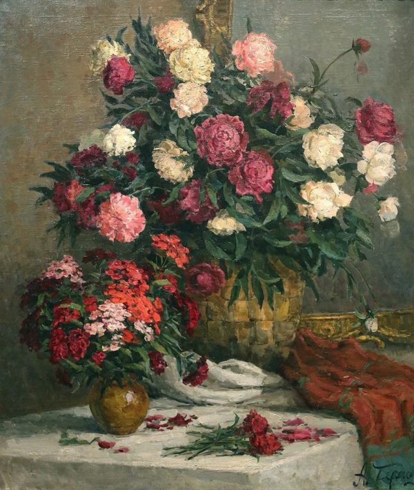 Still Life Painting Of Peonies and Cloves Wall Art Canvas Print