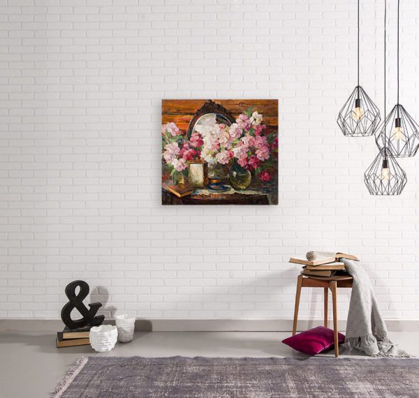 Painting Of Peonies Flowers Wall Art Canvas Print Lavelart