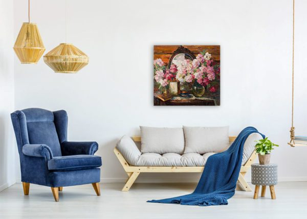 Painting Of Peonies Flowers Wall Art Canvas Print Lavel Art