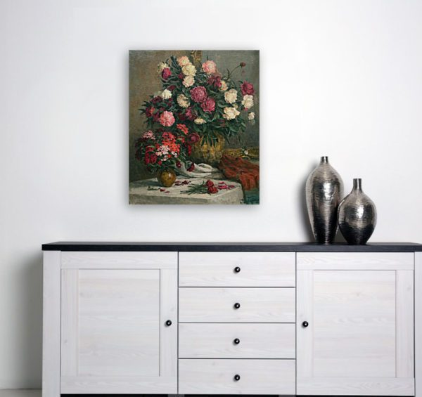 Still Life Painting Of Peonies and Cloves Wall Art Canvas Print Photo Of