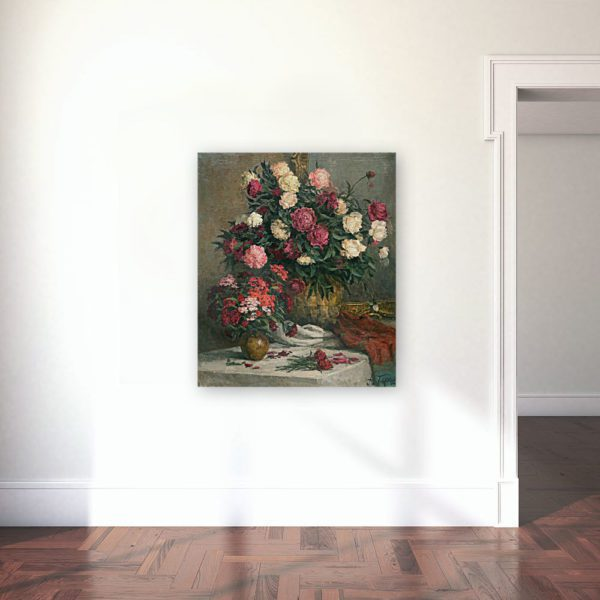 Still Life Painting Of Peonies and Cloves Wall Art Canvas Print Lavelart