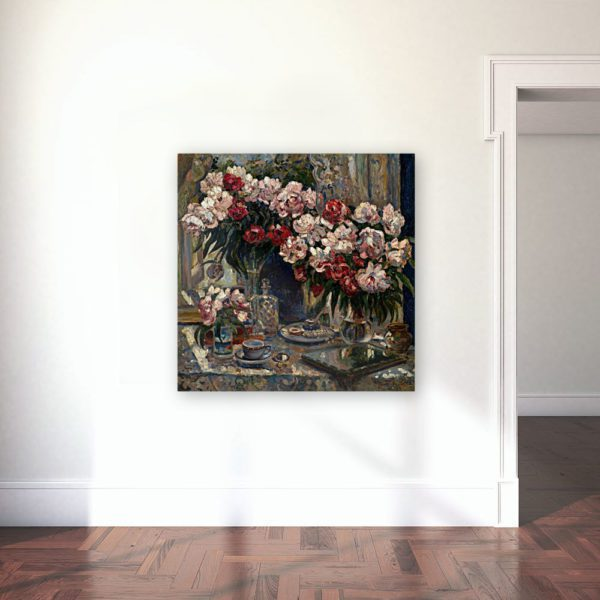 Still Life With Peonies By Alexander Gerassimov Wall Art Canvas Print Lavelart