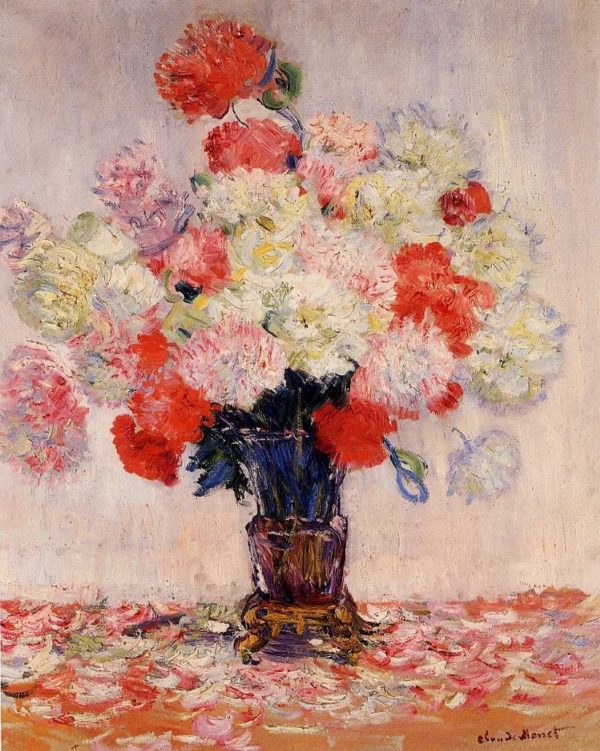 Painting Of Peonies Wall Art Canvas Print by Claude Monet