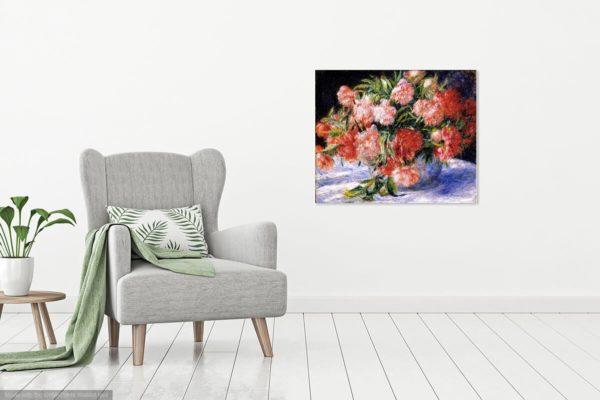 Pierre-Auguste Renoir PAinting Of Peonies Canvas Print Wall Art 2